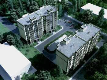 Вид на жилые корпуса ЖК на Клубном сверху